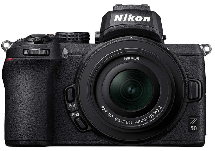 This is an image of a black Nikon Z 50 digital camera with Nikkor Z DX 16-50 lens