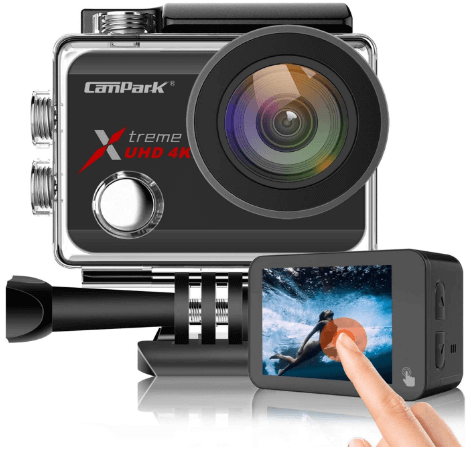 This is an image of front and backside of a black Campark X30 Action Camera