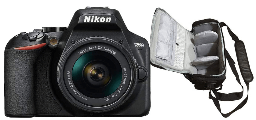This is an image of a black Nikon D3500 DSLR Camera with 18-55mm lens and carrier case