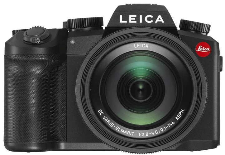 This is an image of a black Leica V-Lux 5 digital camera with 20mp sensor and 25 - 400mm Leica zoom