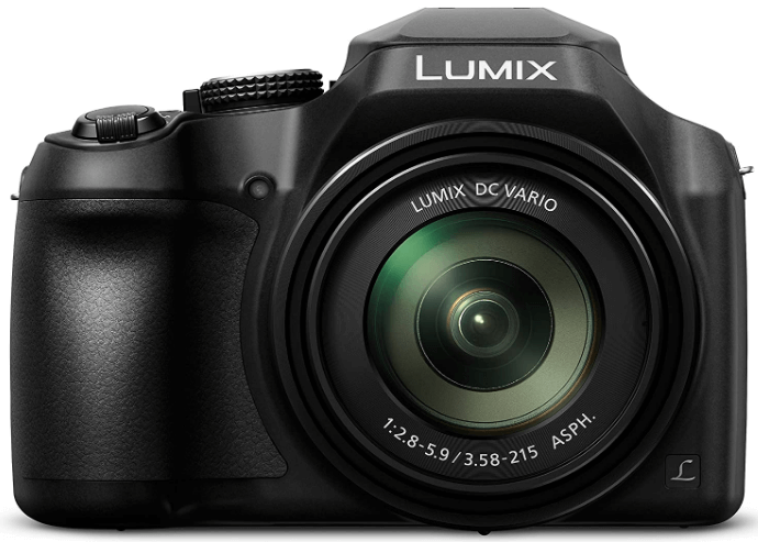 This is an image of a black Panasonic Lumix DC-FZ80K Digital Camera with 18.1MP sensor and 20 - 1220mm lens