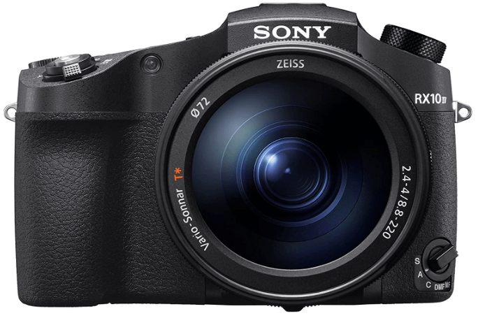 This is an image of a black Sony CyberShot RX10 IV digital camera with 25x Optical Zoom and 20.1MP sensor