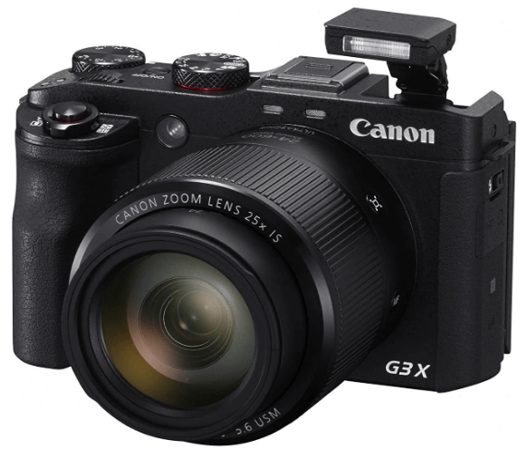 This is an image of a black Canon PowerShot G3X Digital Cameras with 20.2MP sensor and 24 - 600mm lens zoom
