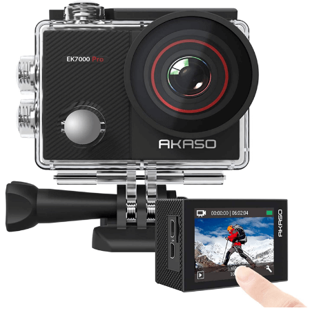 This is an image of front and backside of a black AKASO EK7000 Pro 4K Action Camera