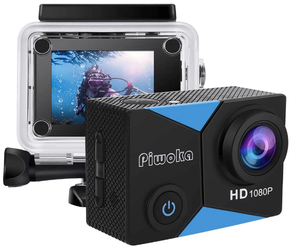 This is an image of front and backside of a black Piwoka HD Action Camera