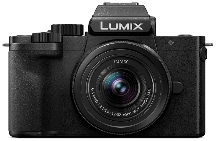 This is an image of a black Panasonic LUMIX DC-G100KEB-K Camera with 12-32 mm lens