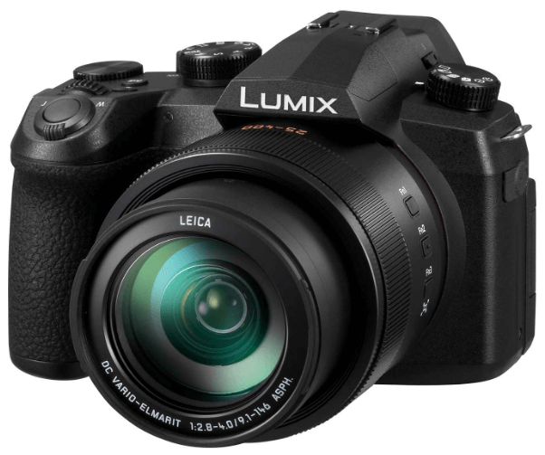 This is an image of a black PANASONIC LUMIX FZ1000 II Digital Camera with 20.1MP sensor and 16x 25-400mm LEICA DC Lens