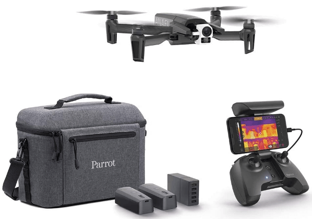 This is an image of a black Parrot - Thermal Drone 4K - Anafi Thermal with 2 High Precision Cameras and remote controller, carrier case and batteries
