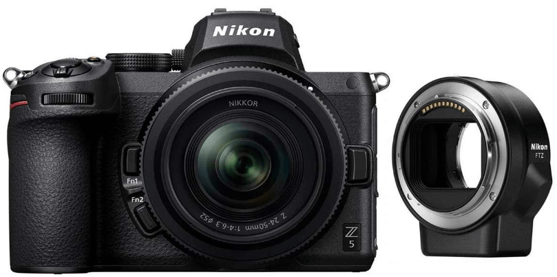 This is an image of a black Nikon Z5 Full Frame Mirrorless Camera with NIKKOR lens and FTZ Mount Adapter