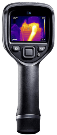 This is an image of a black FLIR E4 Compact Thermal Imaging Camera with 80 x 60 IR Resolution