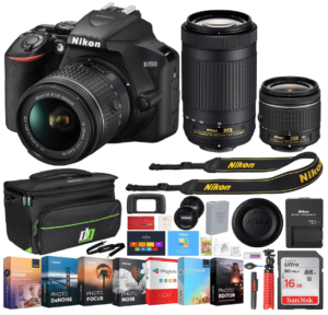 This is an image of a Nikon D3500 24.2MP DSLR Camera bundle includes 18-55mm VR Lens, 70-300mm Dual Zoom Lens, camera bag, charger, filter and memory card and battery charger