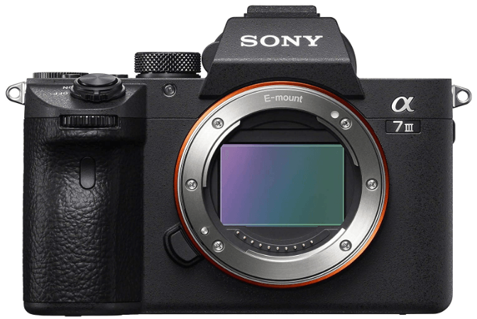 This is an image of a black Sony a7 III ILCE7M3/B Full-Frame Mirrorless digital Camera with 3-Inch LCD