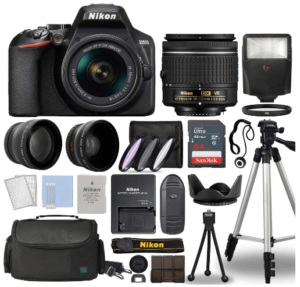 This is an image of a black Nikon D3500 Digital SLR Camera bundle includes Nikkor 18-55mm lens, 65 GBmemory card, camera bag, flash, tripod ,battery charger and filter