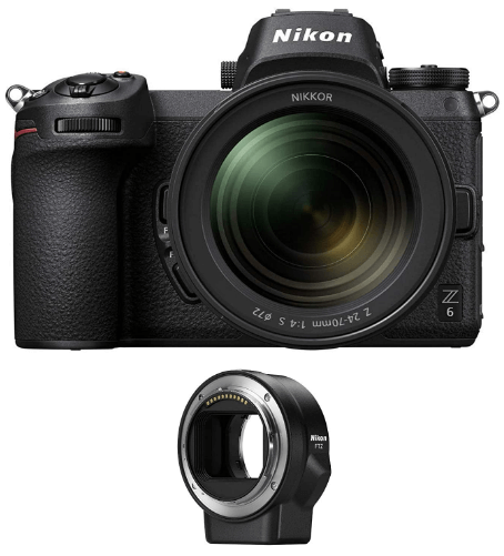 This is an image of a black Nikon Z6 Mirrorless Camera with 24-70mm Lens and FTZ Mount Adapter