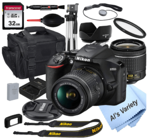 This is an image of a black Nikon D3500 DSLR Camera bundle includes 18-55mm Lens, tripod, memory card. camera bag, filter, battery charger