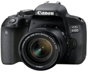 This is an image of a black Canon EOS 800D DSLR digital camera with 18-55 mm zoom