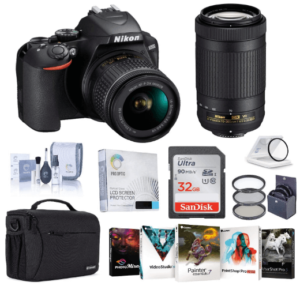 This is an image of a Nikon D3500 DSLR Camera bundle includes two NIKKOR 18-55mm and NIKKOR 70-300mm lens, Black Camera Strap, Rubber Eyecup, camera bag, memory card, filter, Video Editing Software, Glass Screen Protector and cleaning kit