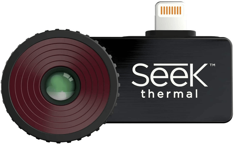 This is an image of a black Seek Thermal CompactPRO – High Resolution Thermal Imaging Camera for iOS