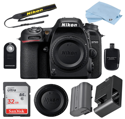This is an image of a black Nikon D7500 24.2 MP DSLR Camera (Body Only) Bundle Includes 32GB Memory Card, battery charger,Camera Strap, Card Reader, Wireless Remote, Nikon BF-1B Body Cap, Nikon Battery