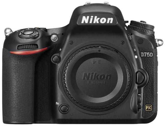 This is an image of a black Nikon D750 DSLR digital camera