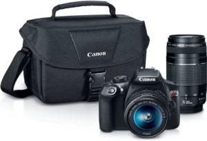 this is an image of a canon eos rebel t6 with case and lenses